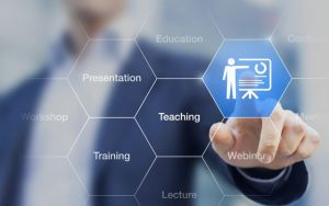 Photo: Business Person activating training button