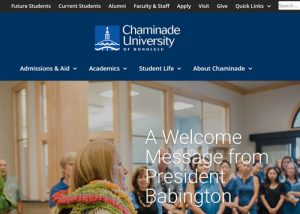 Screenshot of Chaminade University Website
