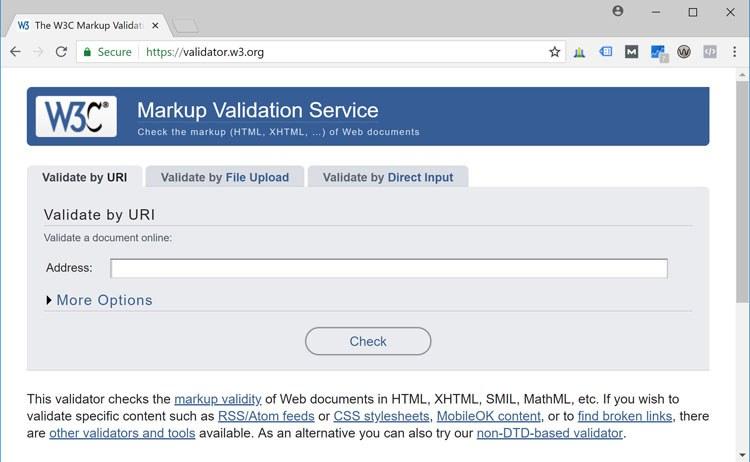 Screenshot: W3C Markup Validator