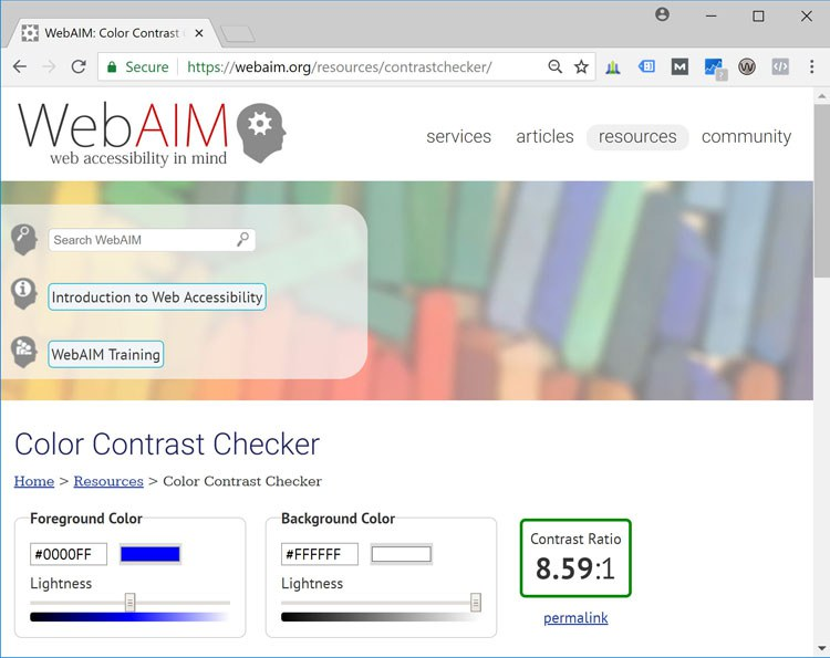 Screenshot: Web-AIM's Color Contrast Checker