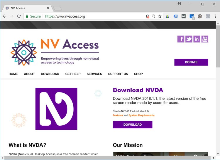 Screenshot: NV Access Home Page