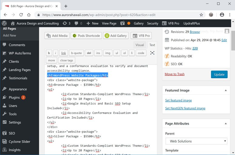 Screenshot of WordPress WYSIWYG Editor