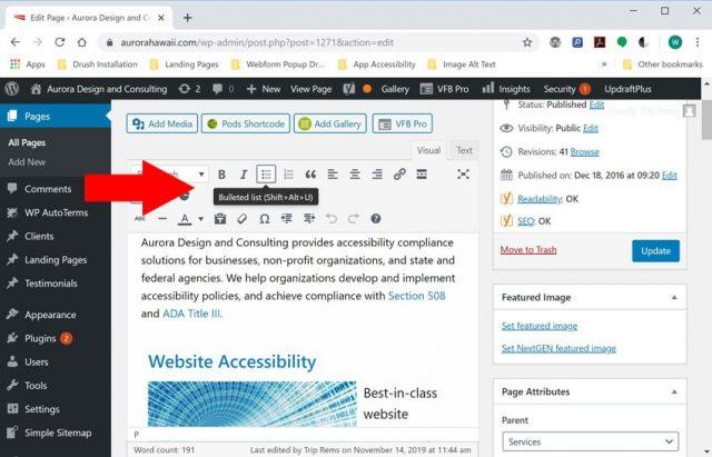 Screenshot of WordPress WYSIWYG editor with bullet list option highlighted