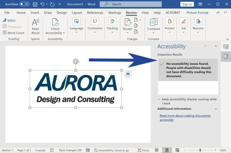Screenshot from Microsoft Word with accessibility checker highlighted