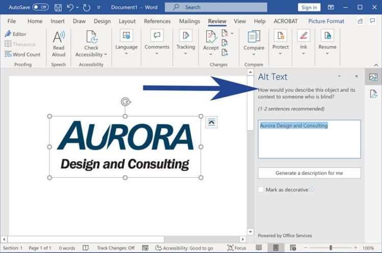 Screenshot from Microsoft Word with alt text panel highlighted