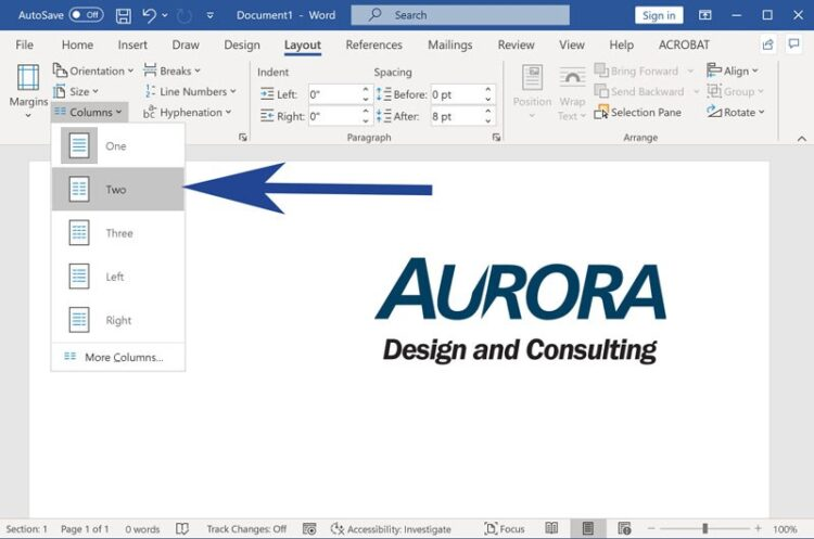 Screenshot from Microsoft Word with column layouts menu expanded