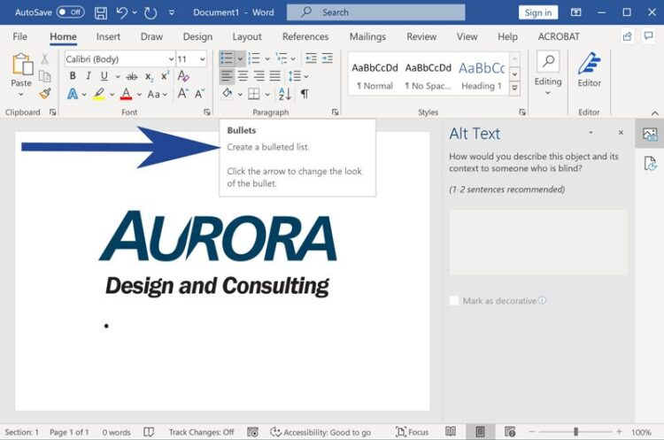 Screenshot of Microsoft Word with Bullet list styles highlighted