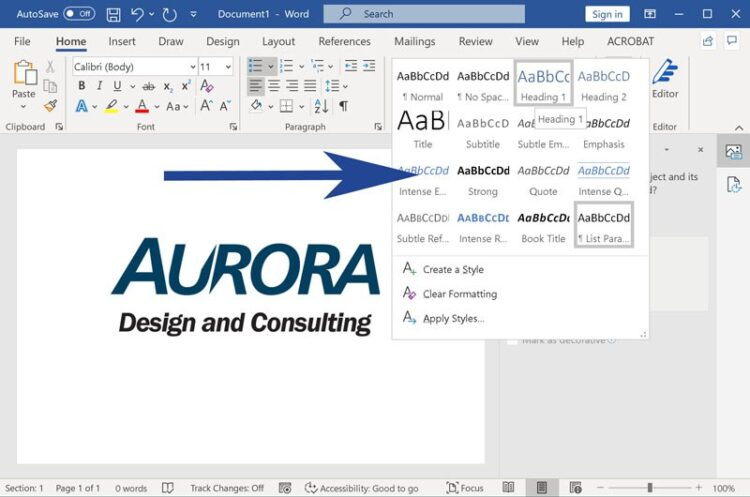 Screenshot from Microsoft Word with styles panel expanded