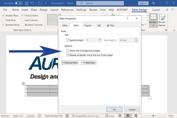 Screenshot from Microsoft Word with Table properties dialog highlighted
